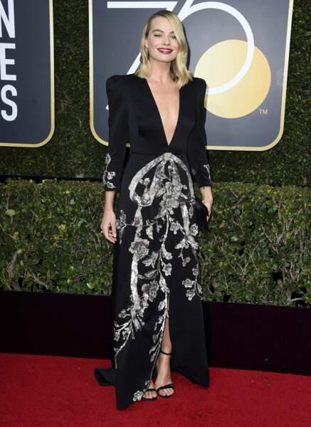 Margot Robbie en Gucci lors de la 75e cérémonie des Golden Globes, le 7 janvier 2018
