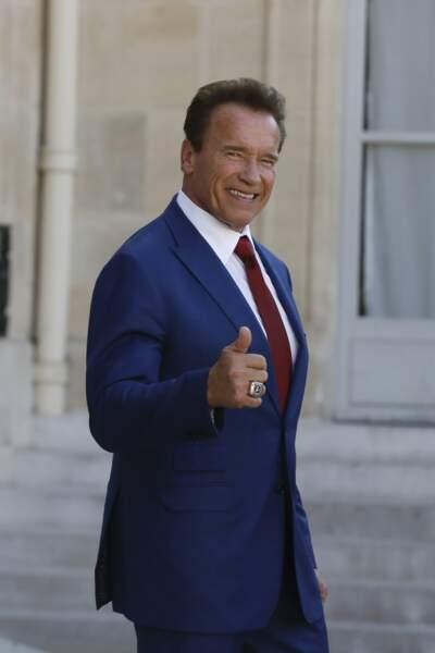 Arnold Schwarzenegger était très content de sa visite à l'Élysée...