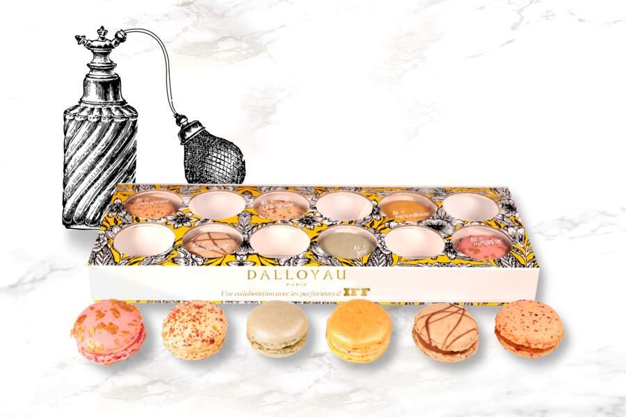 Coffret 12 macarons. 32 € vendu avec un tote bag, Dalloyau en collaboration avec avec 6 parfumeuses d'IFF.