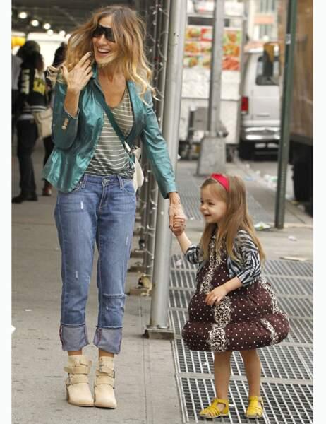 Sarah Jessica Parker hilare devant sa fille qui se prend pour Marilyn
