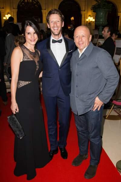 Marion Jollès et son époux Romain Grosjean, les hôtes de la soirée aux côtés du chef Thierry Marx
