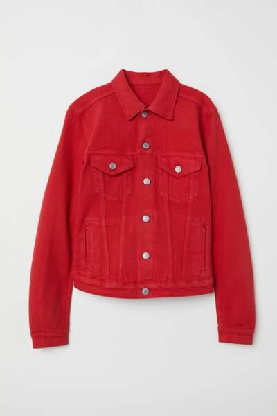 Veste en jean rouge, H&M, 34,99 euros