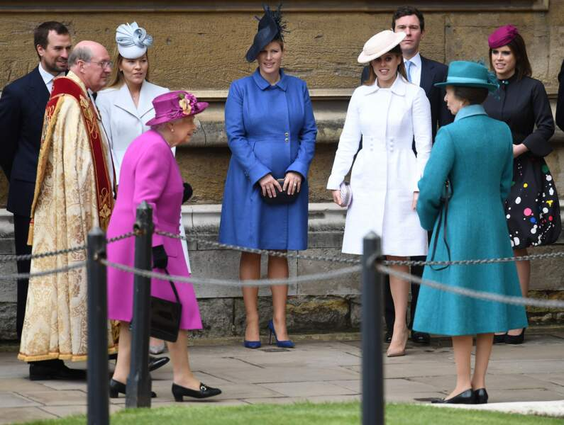 Peter Philips, Autumn Philips, Zara Tindall, Princesse Beatrice, Jack Brooksbank, Princesse Eugenie
