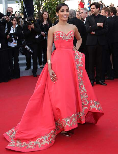 La sublime Freida Pinto renversante dans une robe de princesse, typique du créateur