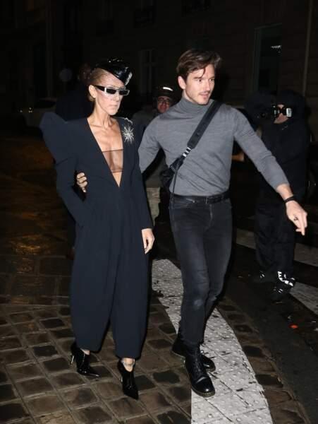 Céline Dion et Pepe Muñoz, inséparables pendant la Fashion Week, quittent les Folies Bergère le 25 janvier 2019