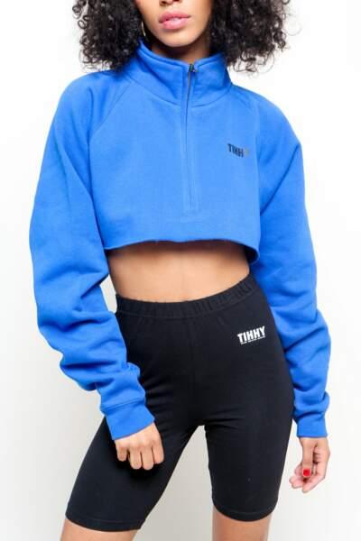 Sweatshirt cropped bleu électrique, TIHHY, 59€