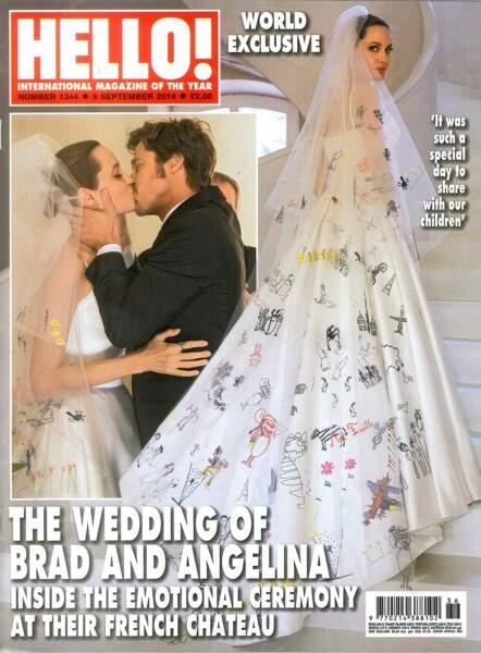 Robes de mariée de stars : Angelina Jolie et Brad Pitt en 2014. On adore les dessins d'enfants sur la robe