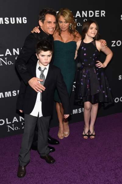 Ben Stiller pose avec sa femme Christine Taylor et leurs enfants Ella et Quinlin