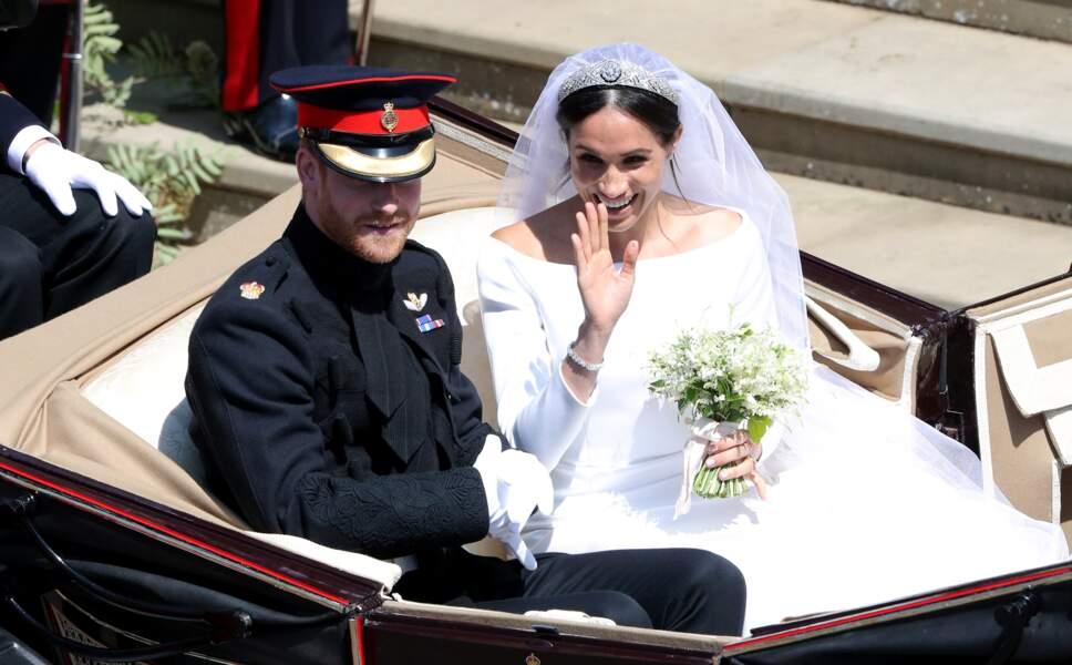 Le prince Harry et Meghan Markle sur un Ascot Laudau