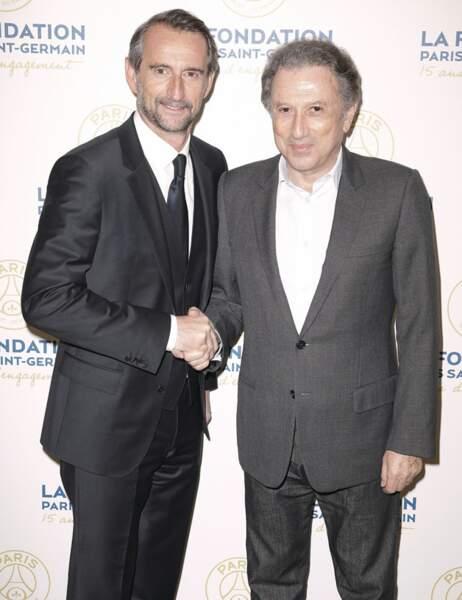 Jean-Claude Blanc, le directeur général délégué du PSG, et Michel Drucker