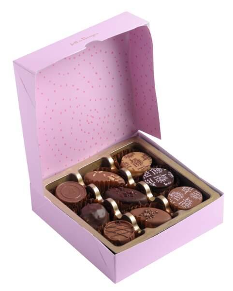 Cadeaux de fête des mères : boîte de chocolats personnalisable, Jeff de Bruges, 8€ les 112g