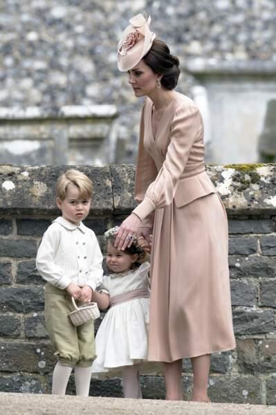 Charlotte, George et Kate Middleton au mariage de Pippa