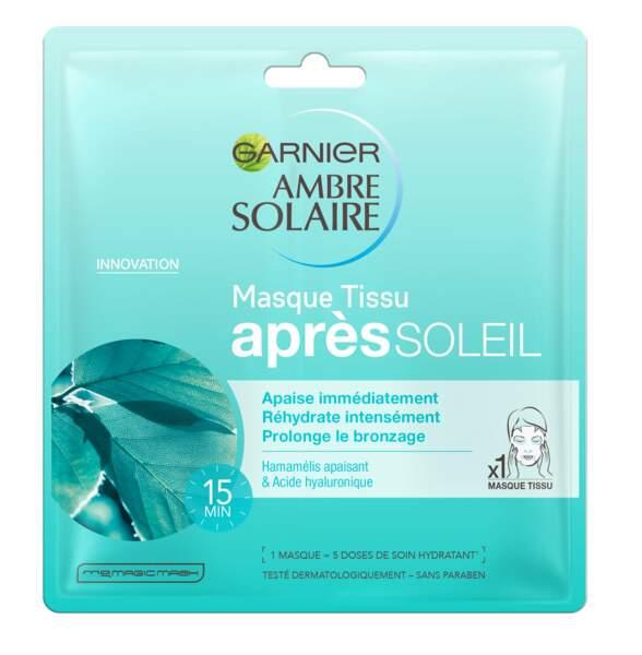 Masque Tissu après soleil Ambre Solaire, 3,25 €, Garnier