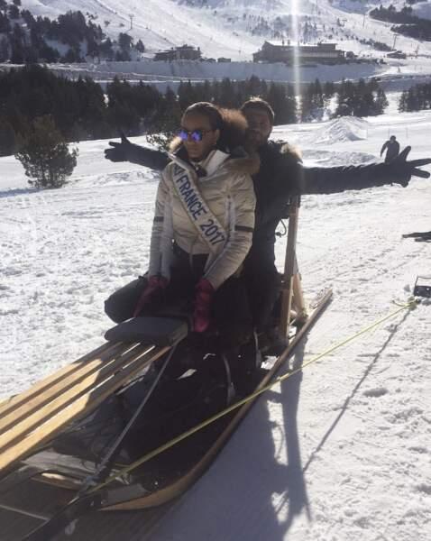 """Miss France 2017 à la montagne: """"Encore une première ! Chiens de traîneaux avec Christophe Beaugrand"""""""