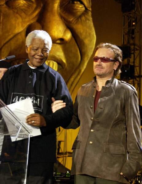 Avec le chanteur Bono
