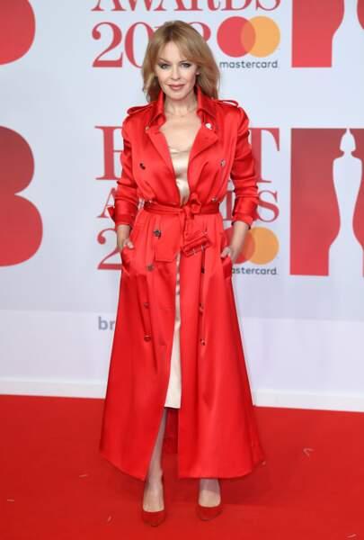 Kylie Minogue aux Brit Awards 2018, le 21 février à Londres