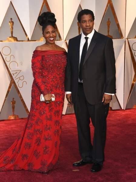 Les plus beaux couples des Oscars 2017 : Denzel Washington et son épouse Pauletta