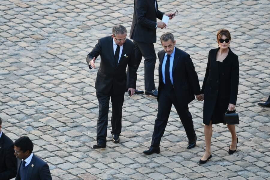 Nicolas Sarkozy et Carla Bruni à l'hommage national à Charles Aznavour
