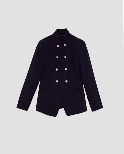 Zara : Veste militaire croisée bleu marine, 39,99 euros au lieu de 59,95 euros