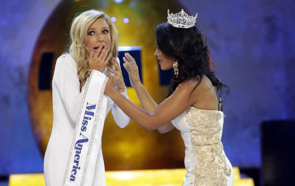 La jeune femme surprise à l'annonce de sa victoire