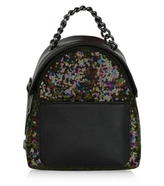 New Look mini sac à dos noir à paillettes 24,99€