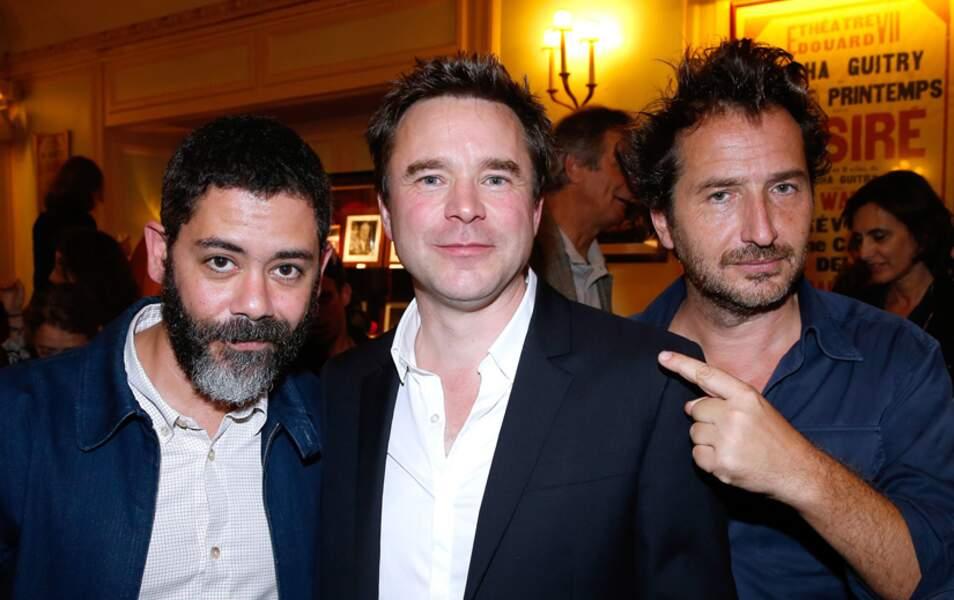 L'acteur et réalisateur Manu Payet, Guillaume de Tonquédec et le toujours ébouriffé Edouard Baer