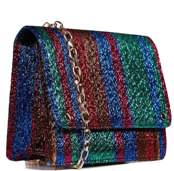 Petit sac à rayures métallisées, Au Printemps Paris, 49€