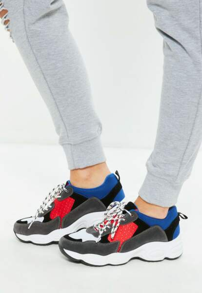 Baskets bleues colorblock, Missguided, 45 euros