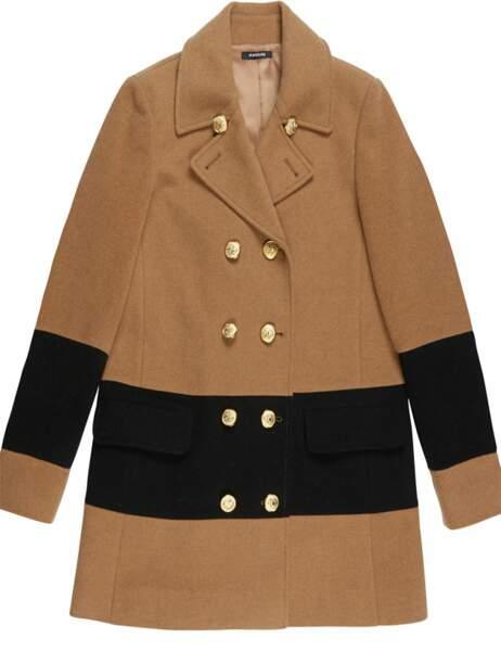 Manteau boutons dorés, 129 € (Morgan)