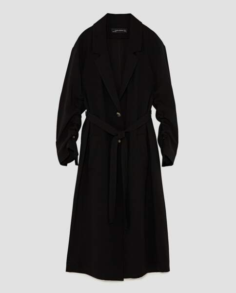 Zara : Trench fluide à rubans, 69,99 euros au lieu de 89,95 euros