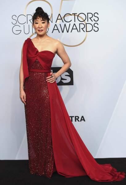 Sandra Oh aux SAG Awards 2019, le 27 janvier, à Los Angeles