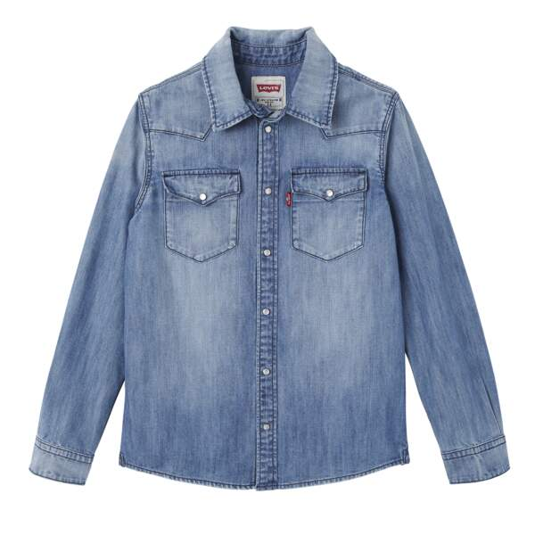 Chemise bleue. 100% coton, du 2 au 16 ans, à partir de 60 €, Levi's Kids
