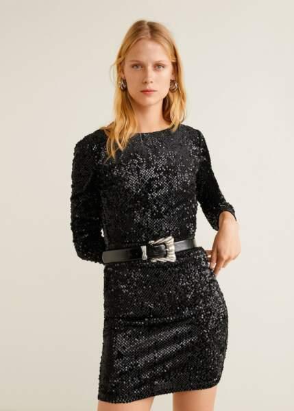 Robe noire à sequins, Mango; 49,99€