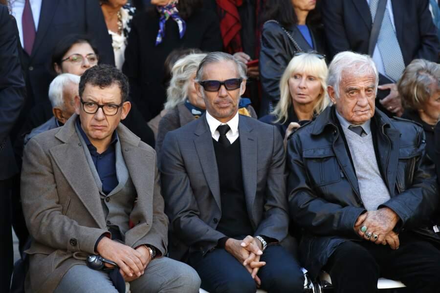 Dany Boon, Paul Belmondo et Jean-Paul Belmondo à l'hommage national à Charles Aznavour