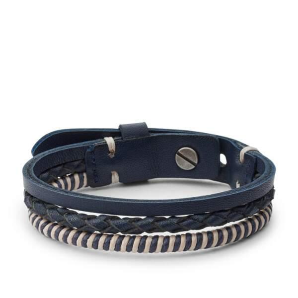 Notre sélection de cadeaux pour homme : Bracelet vintage multi-rangs en cuir et laiton, Fossil, 49 euros