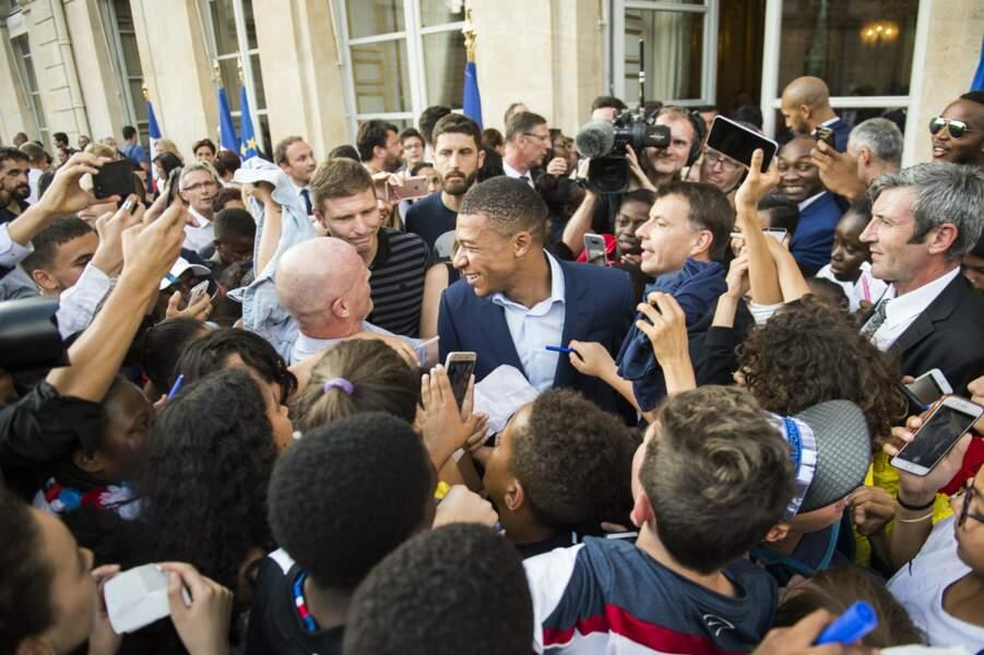 Les Bleus à l'Elysée après leur victoire en coupe du monde : Kylian Mbappé