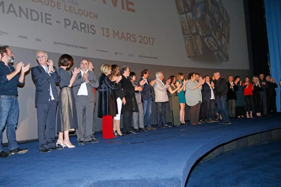 Avant-première du film Chacun sa vie : tous les acteurs du long-métrage de Claude Lelouch sur scène