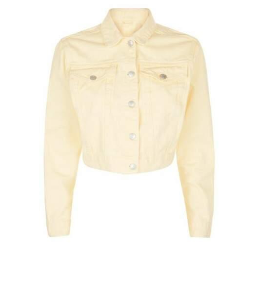 Veste courte jaune en jean, New Look, 32,99 euros