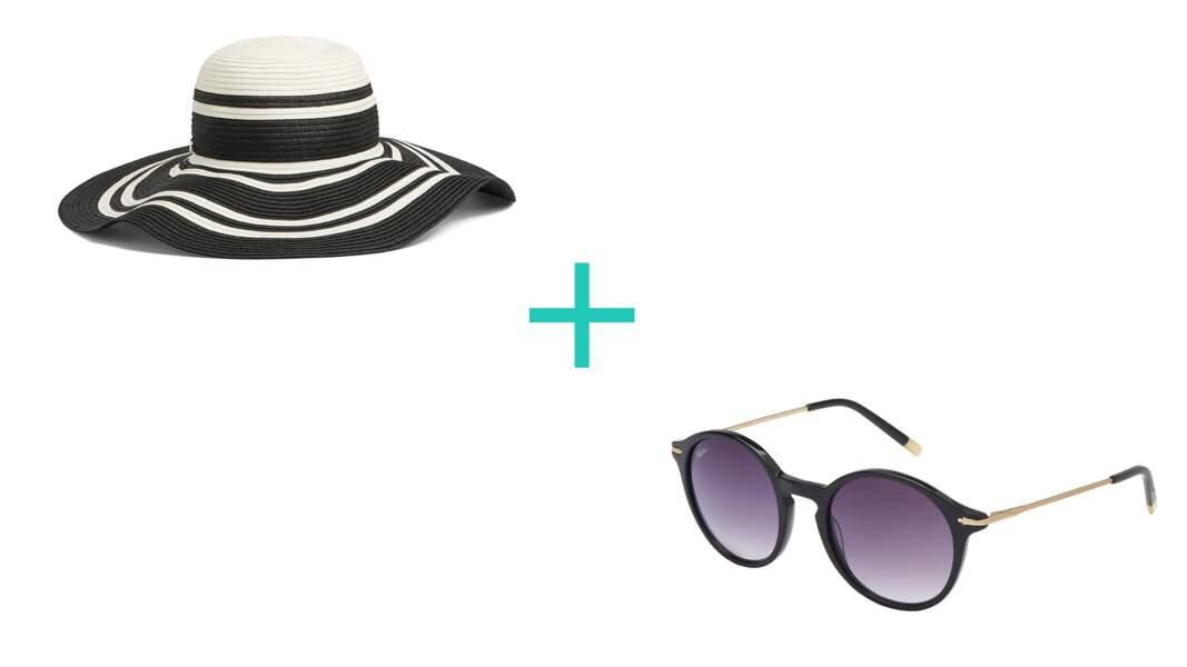 Noir & blanc : Chapeau en raphia. 55€, Liu.Jo + Solaires en acétate et métal. 99€, Afflelou Paris.