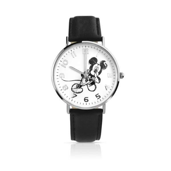 Montre Mickey chromée bracelet en cuir, Maty, 75€