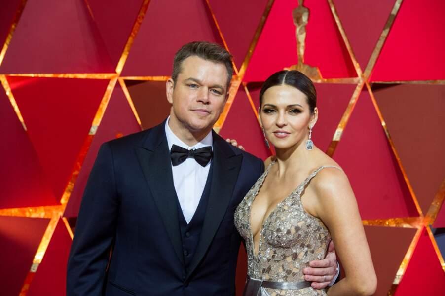 Les plus beaux couples des Oscars 2017 : Matt Damon et Luciana Barroso