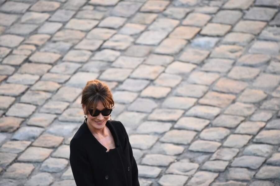 Carla Bruni à l'hommage national à Charles Aznavour