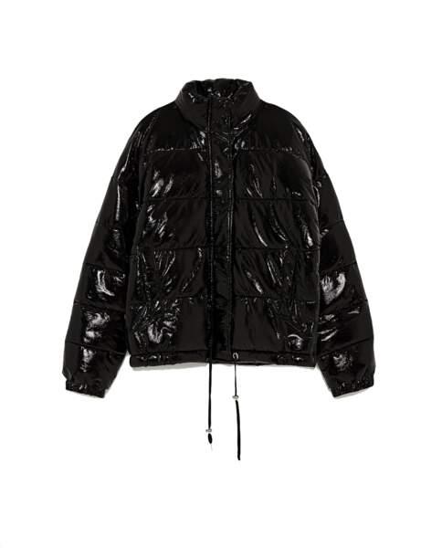 Sélection doudoune : Zara, doudoune noire cirée, 59,95 euros