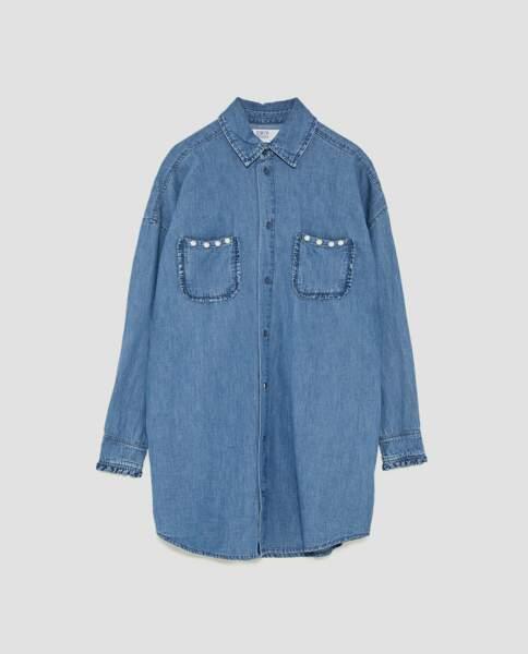 Zara : Surchemise en jean à poche fantaisie, 29,99 euros au lieu de 49,95 euros