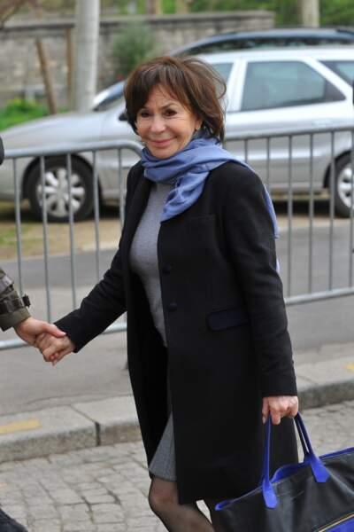 Danièle Évenou, à l'enterrement de Véronique Colucci au cimetière de Montrouge, le 12 avril 2018
