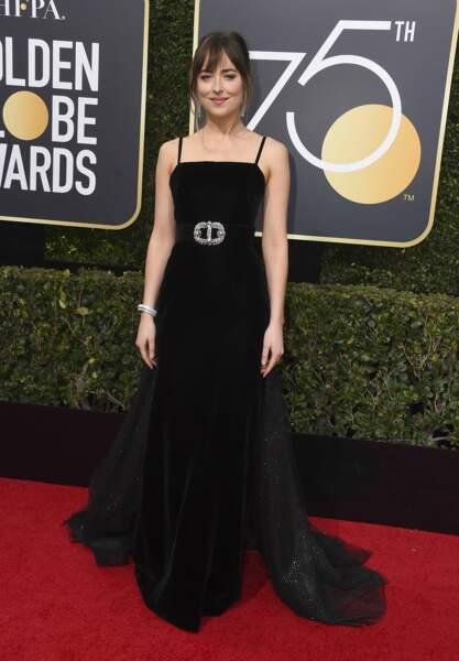 Dakota Johnson en Gucci lors de la 75e cérémonie des Golden Globes, le 7 janvier 2018
