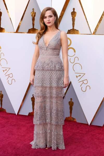 Zoey Deutch à la 90e cérémonie des Oscars, à Los Angeles le 4 mars 2018
