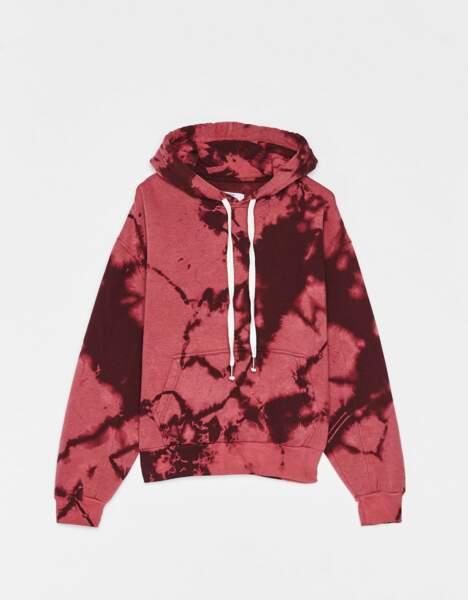 Sweat à capuche tie and dye, Bershka, 19,99€