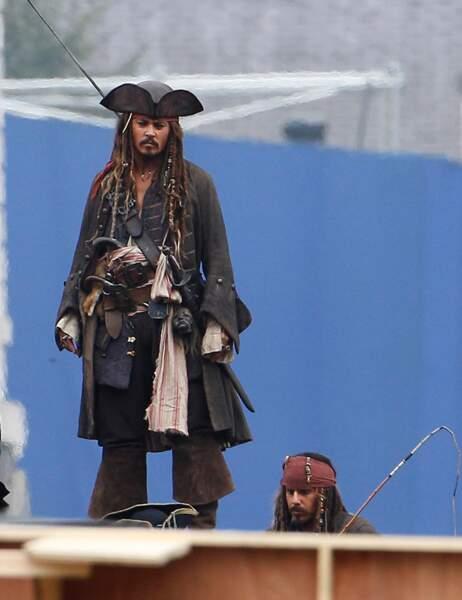 Johnny Depp et sa doublure dans Pirates des Caraïbes 4