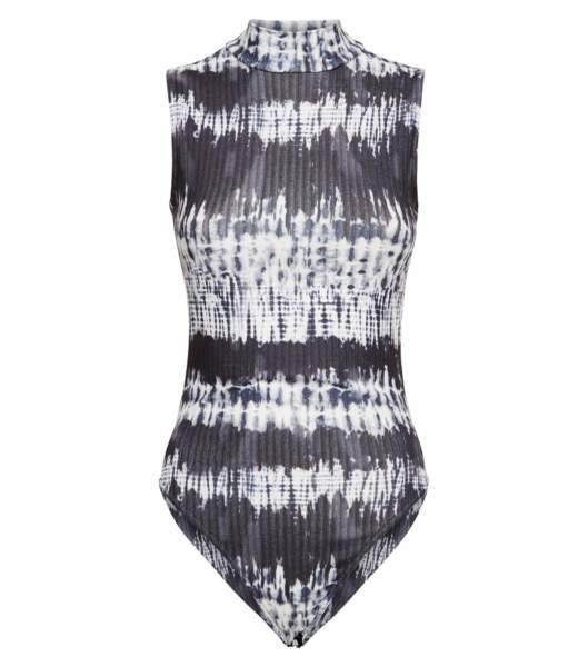 Body gris à col haut côtelé, Newlook, 19,99€
